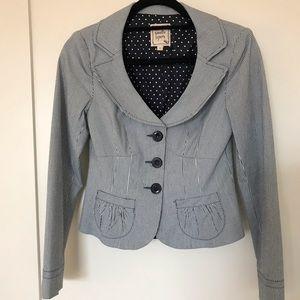 Nanette Lepore blue & white striped jacket sz 2
